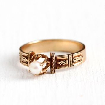 """Victorian Pearl Ring - Antique 10k Rosy Yellow Gold Solitaire Monogrammed """"Lizzie"""" - 1890s Size 7 3/4 June Birthstone Cultured Gem Jewelry"""