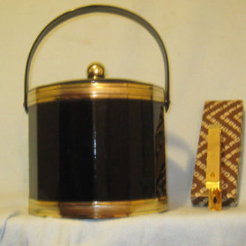 Vintage Like New Georges Briard Faux Leather Black and Gold Ice Bucket/Chest - with 22k Gold Plated Tongs