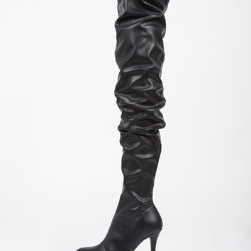 Thigh High Leather Heel Boots