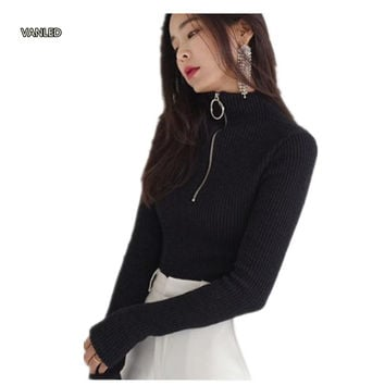 Harajuku Vintage Circle Ring Long Sleeve Tee Turtleneck Zipper Knitted Pullover 121116
