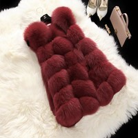 FLULU Winter Casual Faux Fur Coat Women 2018 Vintage Fashion Warm Slim Sleeveless Coat Solid Vest Female Jacket casaco feminino