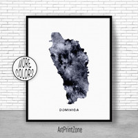 Dominica Print, Office Art Print, Watercolor Map, Dominica Map Print, Map Art, Map Artwork, Office Decorations, Country Map, Art Print Zone