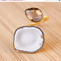 SALE Gold Smokey Quartz and Snow White Druzy Cave Ring - Statement Ring - Trending Rings