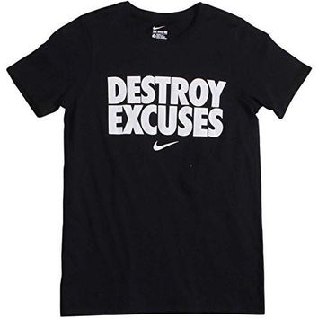 Nike Big Boys' (8-20) Destroy Excuses Graphic T-Shirt-Black-Medium