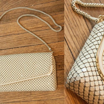 Beautiful White and Gold Mesh Handbag with Metal Strap | Vintage 70s 60s Disco Whiting Davis Style Purse | Classy Formal 50s PinUp Crossbody