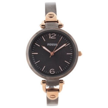 Fossil Women's 'Georgia' Smoke and Rose-goldtone Watch | Overstock.com
