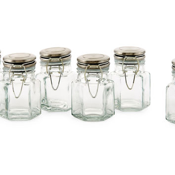 Hexagon Spice Jars, Green, Set of 6, Kitchen Canisters, Canning & Spice Jars
