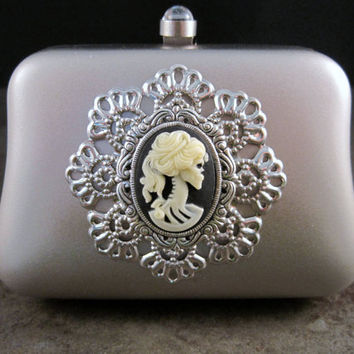Matte Silver Metal Lolita Day Of The Dead Minaudiere With Chain By Metals And Time