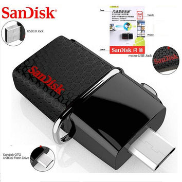 Original Sandisk 130M/S Dual OTG USB stick 3.0 16gb 32gb 64gb 128gb pendrive pen drive for phone and pc + retail package