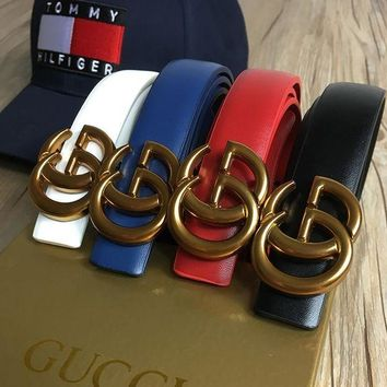 Gucci Fashion Women Men Genuine Smooth Buckle Leather Belt(5-Color) I