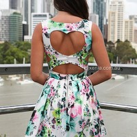 HEART CUT OUT FLORAL DRESS , DRESSES, TOPS, BOTTOMS, JACKETS & JUMPERS, ACCESSORIES, SALE, PRE ORDER, NEW ARRIVALS, PLAYSUIT, Australia, Queensland, Brisbane