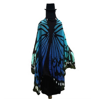 Scarf    Fahson Butterfly Wings Print Long women pashmina shawl And Wraps scarves Ladies 197*125CM 1216# BL