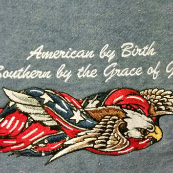 American by birth southern by the grace of God   handmade embroidered pillow cover red white blue flag and eagle