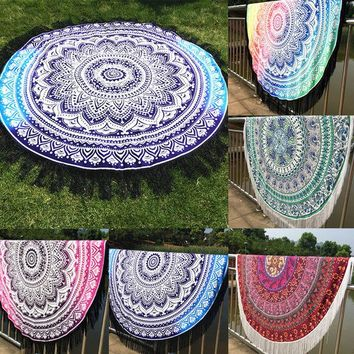 DCCKJG2 2016 New Indian Round Mandala Tapestry Wall Hanging Throw Towel Boho Yoga Mat Decor Sun Bath Shawl  Home Decor