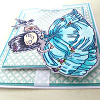 Handmade Greeting Card: Marie Antoinette Inspired. Teal, White & Grey. Can be customized