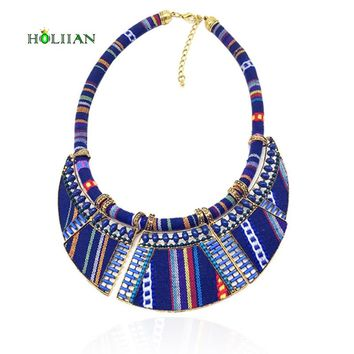 Hot  women choker necklace rope chain bohemia boho collar tribal ethnic vintage navy blue big necklace & pendants jewelry bijoux