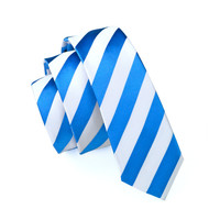 Men Ties Silk Skinny Ties For Men Slim Tie Stripe Blue Necktie