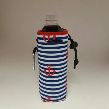 Navy Stripe Anchor - Water Bottle Coolers