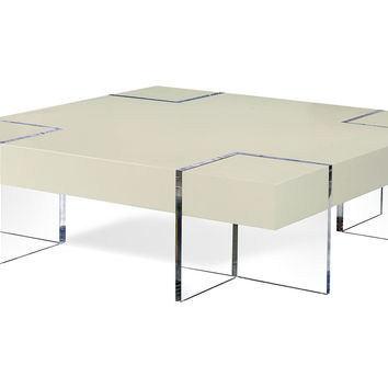 "Levitas 60"" Cocktail Table, Cloud White, Acrylic / Lucite, Sofa Table, Coffee Table"