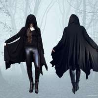 DARKNESS Hooded Jacket Thumbhole Hoodie Asymmetrical Handkerchief Hem Black Modal Jersey S/M-L/XL-TALL