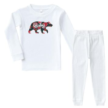 Floral Baby Bear Infant long sleeve pajama set