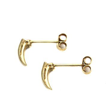 Transience Collection - Tiny Claw Earrings - 18ct Gold Vermeil
