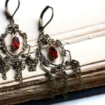 Baroque Chandelier Earrings with Vintage Ruby by dreamyvintage