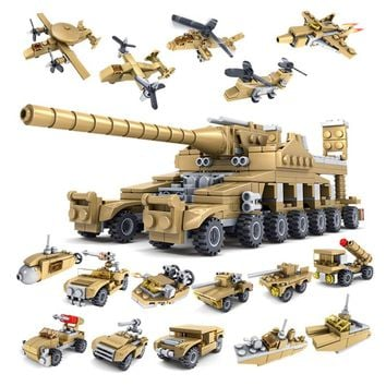 KAZI 544PCS Building Blocks Military Toy Vehicle 16 Assembled 1 Super Tank Army Toys Children Hobby Compatible with lego