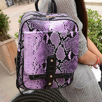 Purple Snake Print Fall Fashion Backpack