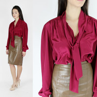 80's maroon blouse pussy bow secretary blouse office casual workwear silky business attire MEDIUM M LARGE L