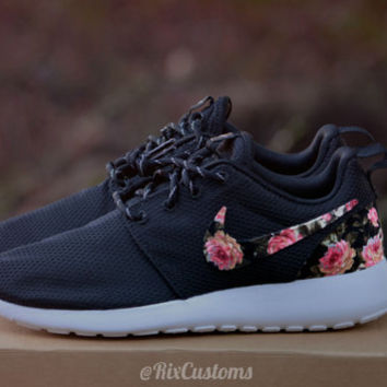 3ac3cb1753036 Floral Nike Roshe Run Custom Black White from rixcustoms on Etsy