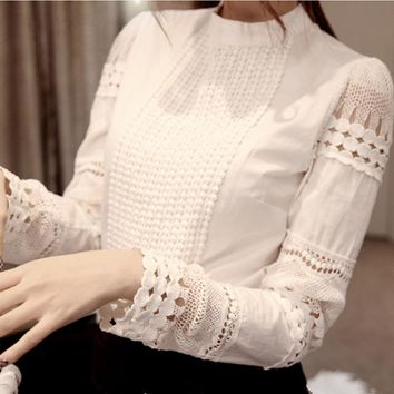 S-XXXL 2017 Fashion Spring Autumn Women blouses Cutout long-sleeve Chiffon shirt White lace shirt ol work wear Women Tops