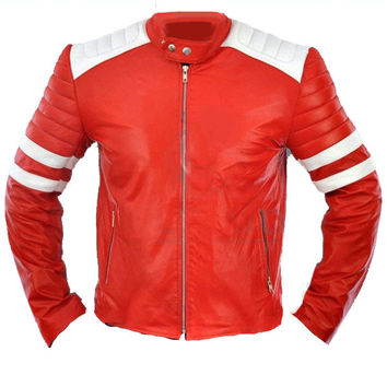 Red moto style jacket with white patches
