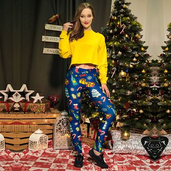 Colorful Christmas Festival Print Women Mid Waist Skinny Leggings
