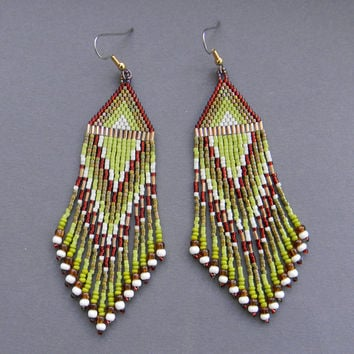 Ethnic style seed bead earrings -  dangle long earrings, peyote earrings, olive / brown / cream