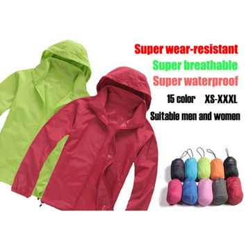 Men & Women Waterproof Windproof Hiking Jacket Camping Jacket Style Fashion Coats Quick-Drying Windbreak Jackets Man 15Colors