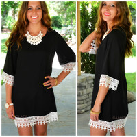 Nidaros Black Crochet Trim Shift Dress