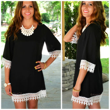 Neverland Black Crochet Trim Shift Dress