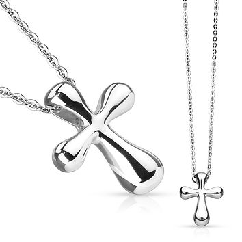 Silver Holy Spirit - Stainless Steel Cross Pendant With 23 Inch Chain Necklace