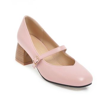 Square Toe Mary Janes Mid Heel Pumps Shoes 7421