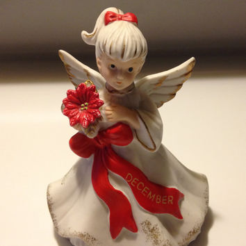 Bisque Porcelain December Angel Figurine Vintage Taiwan Ivory Bisque Red Poinsettia