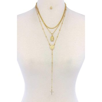 Yellow Gold Triple Strand Cross Rosary Lariat Necklace