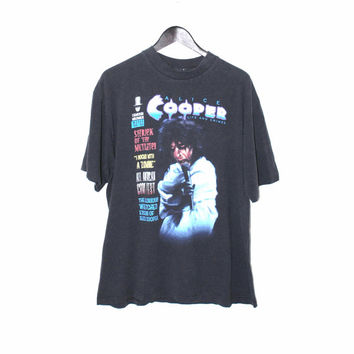90s ALICE COOPER rock Tshirt 1990 vintage black cotton shock rock concert tour shirt