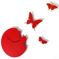 Butterfly Time Fly Wall Clock DIY Art Home Decor Red