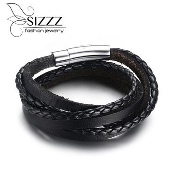 Men's Braided Leather Rope Woven Wrap Surfer Cuff Bracelet Punk Genuine Leather Bracelets & Bangles