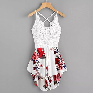 CHAMSGEND jumpsuit 2018 New Fashion Women's Crochet Lace Panel Bow Tie Back Florals Ladies Summer Shorts Jumpsuit June29
