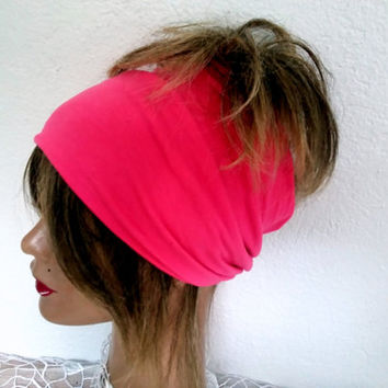 Fabric head, Boho Scarf, PinkHair Band, Yoga President, Wide Headband, Head of a Woman, Bandana, Hippie President, Cotton Head Wrap