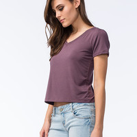 Full Tilt Womens V-Neck Tee Plum  In Sizes