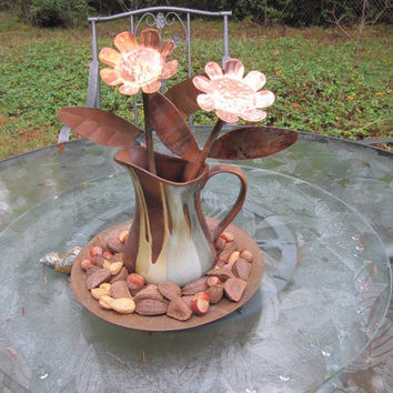 Copper Flower, Yard Art, Garden Flower, Metal Sculpture