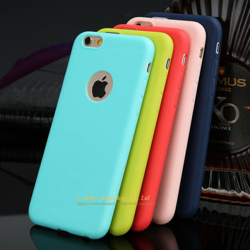 Cute Candy Colors Phone Case For iPhone 7 7 Plus 6 6s Plus 5 5s SE Soft TPU Silicon Fashion Back Coque Case With Logo Window